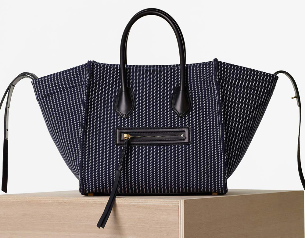 Celine-Phantom-Luggage-Tote-Navy-Stripe-Canvas