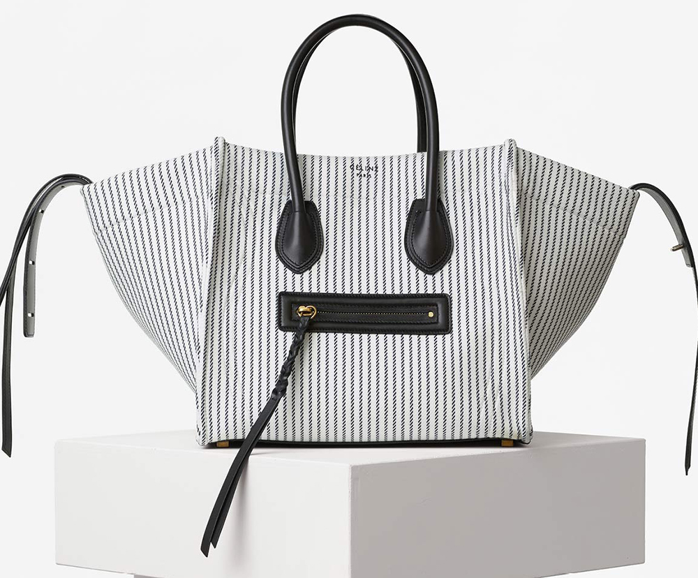 Celine-Phantom-Luggage-Tote-White-Striped-Canvas