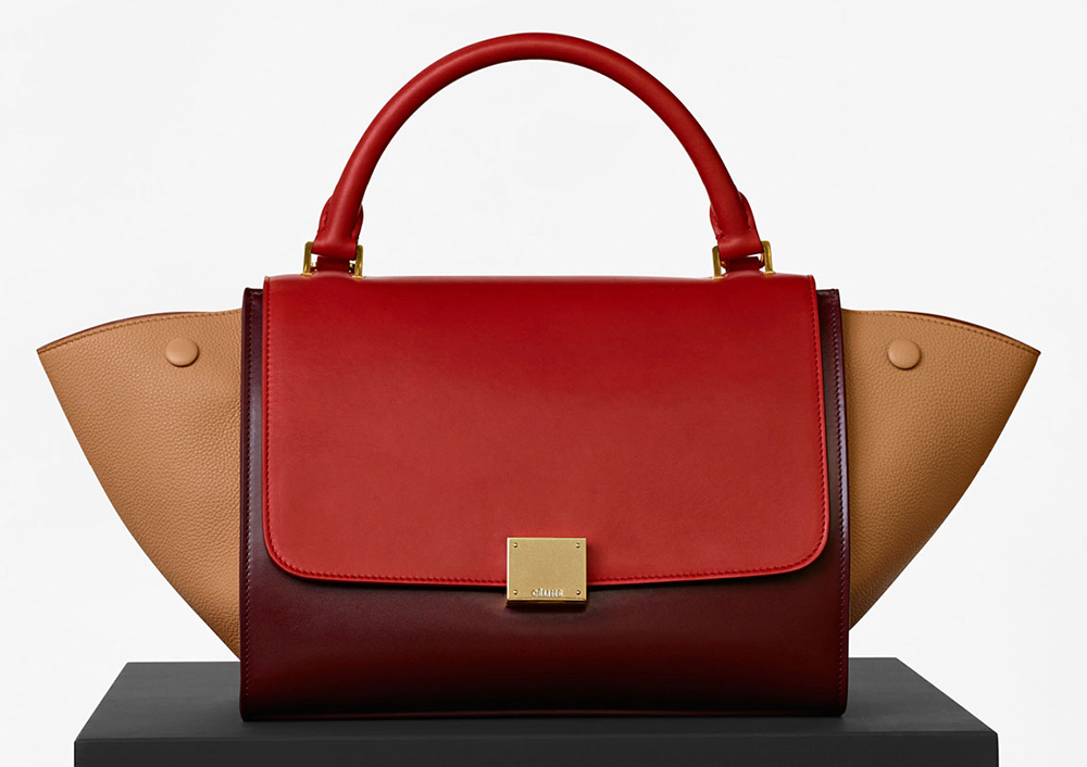 Celine-Small-Trapeze-Bag-Red-Tricolor