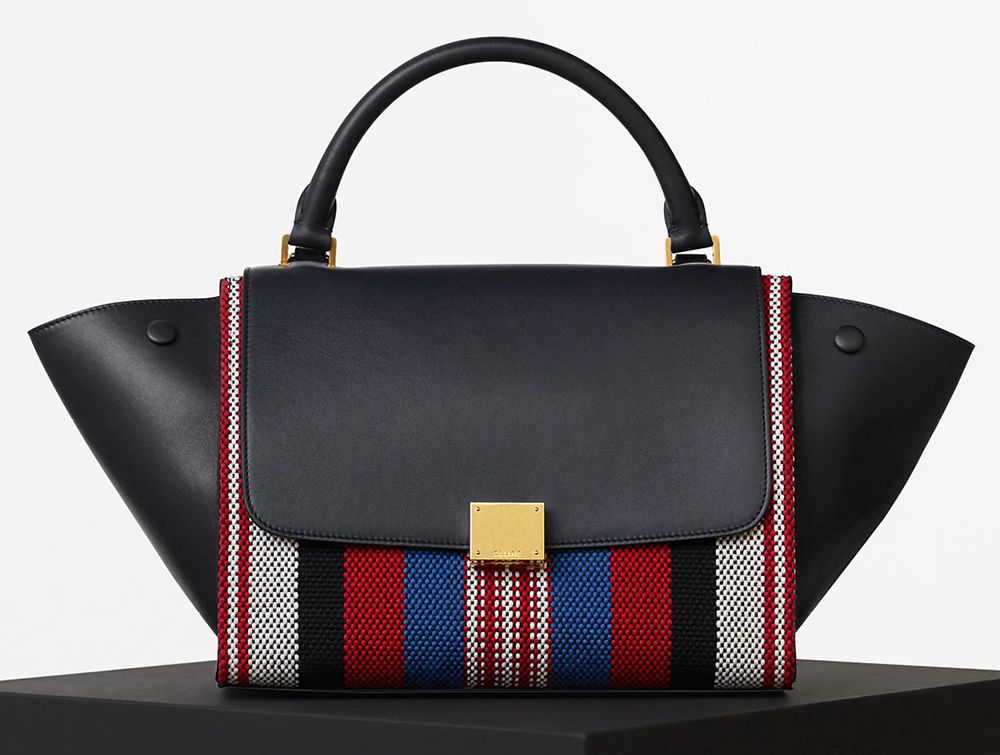 Celine-Textile-and-Leather-Trapeze-Bag