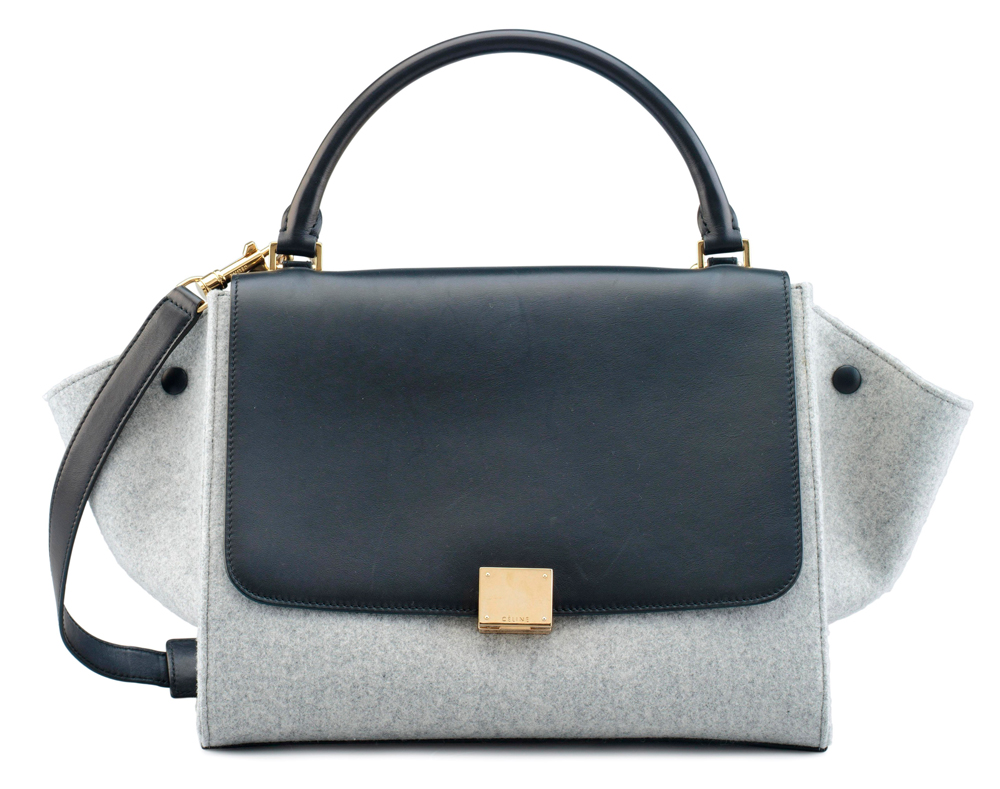 Celine-Trapeze-Bag-Black-Leather-and-Suede-Grey-Wool