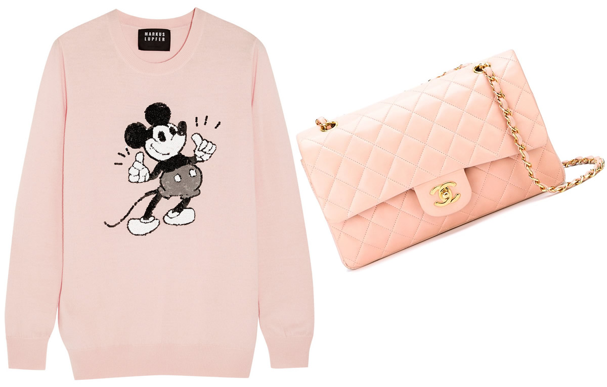 Chanel 2.55 Pink Classic Flap $6,497 via Farfetch, Markus Lupfer Disney® Vintage Mickey Sweater $420 via Net-A-Porter