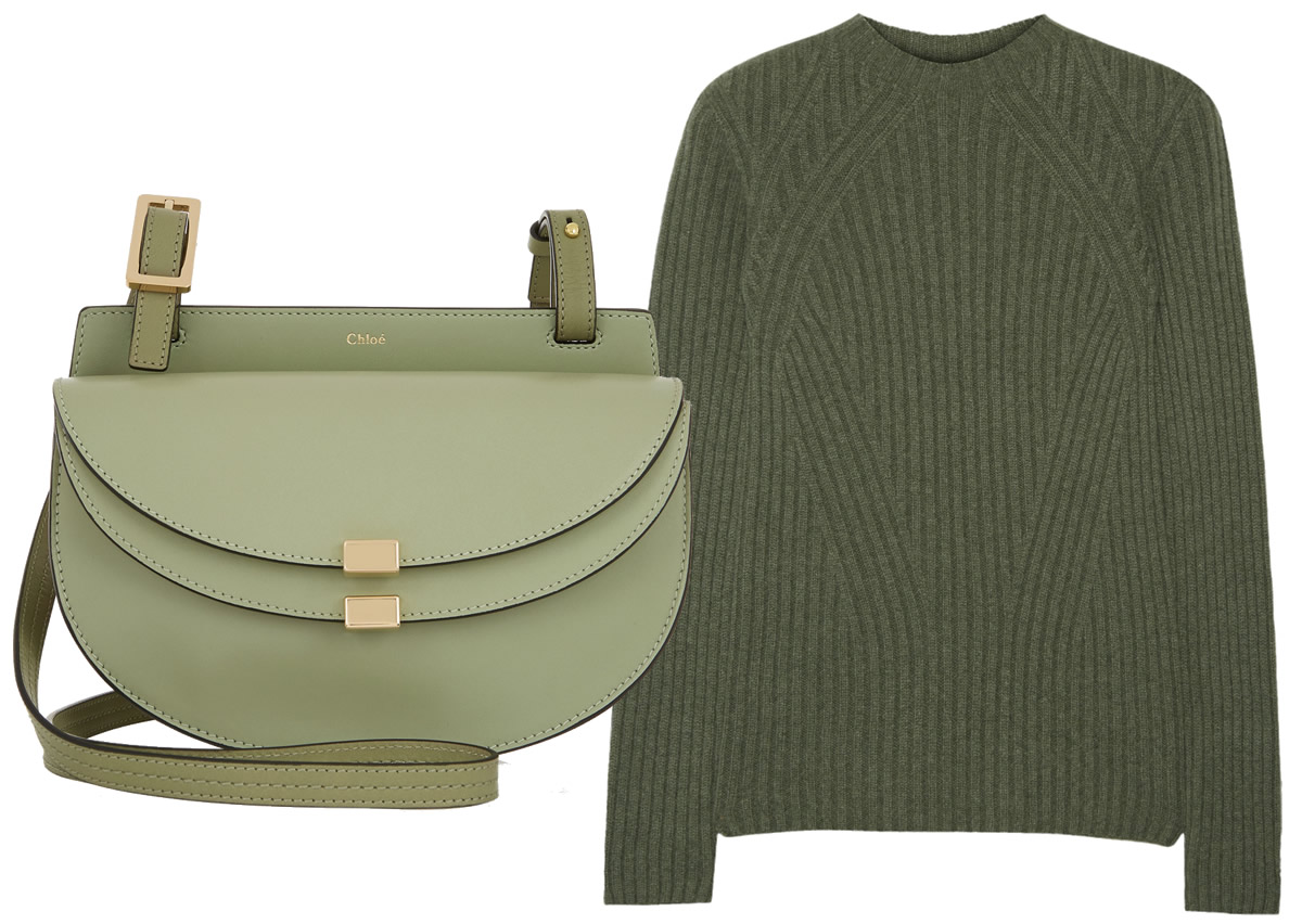 Chloé Georgia Bag $1,090 via Net-A-Porter and The Row Avery Ribbed Cashmere Sweater $990 via Net-A-Porter