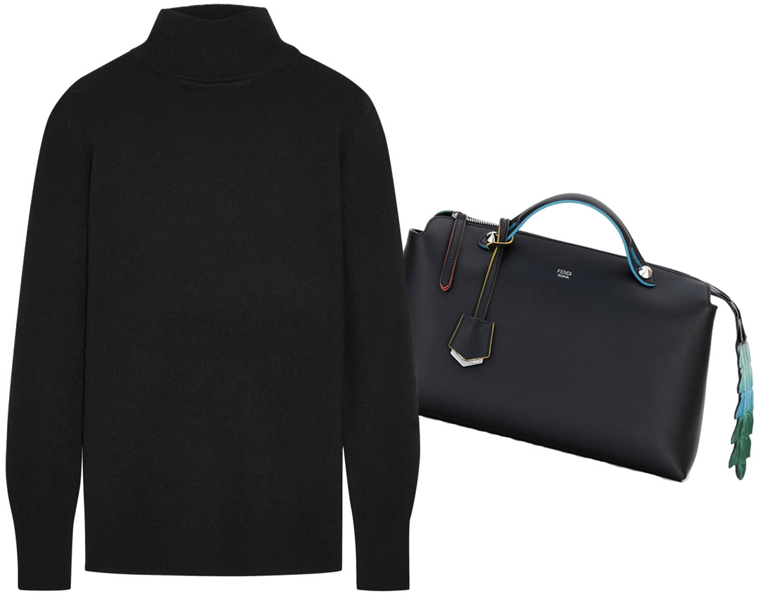Fendi Grande By the Way Croc-Tail Bag $2,800 via Nordstrom, Equipment Oscar Cashmere Turtleneck Sweater $320 via Net-A-Porter