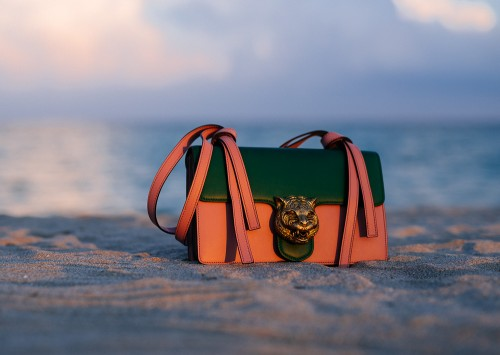 Gucci Animalier Shoulder Bag in Emerald Green/Pink