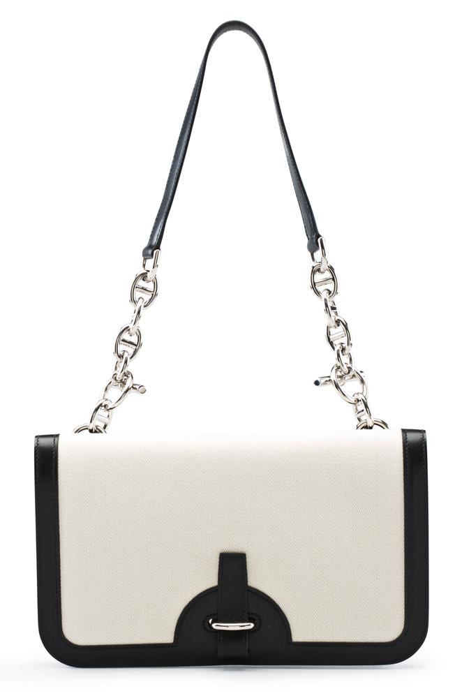 Hermes-Chaine-d'Ancre-Bag-Black-Calfbox-Leather-and-Herringbone-Fabric