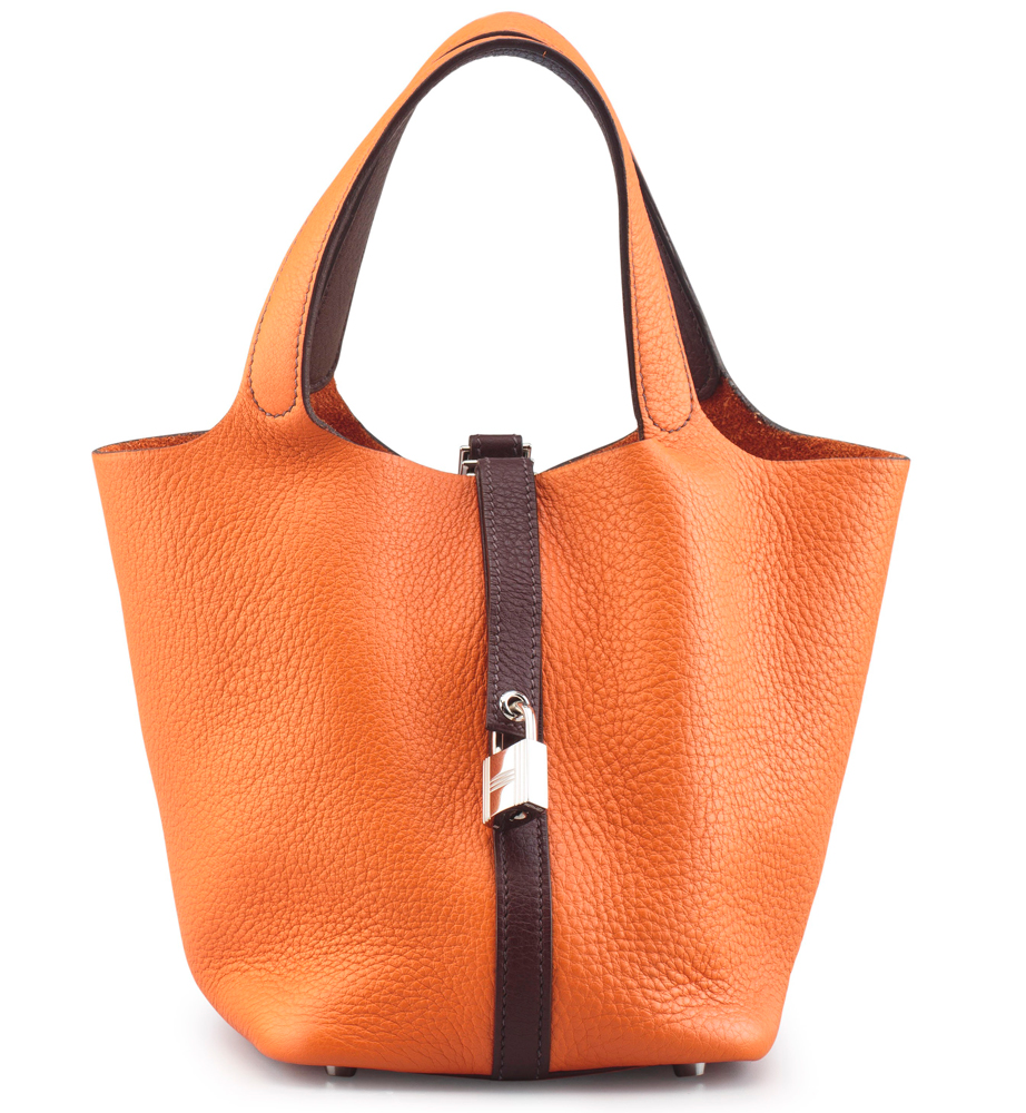 Hermes-Picotin-Lock-PM-Bag-Orange-H-and-Havane-Clemence-Leather