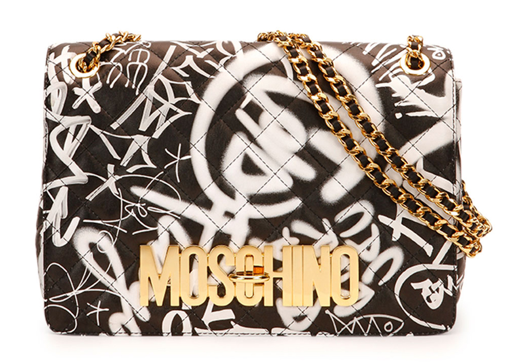 Moschino-Graffiti-Print-Flap-Bag