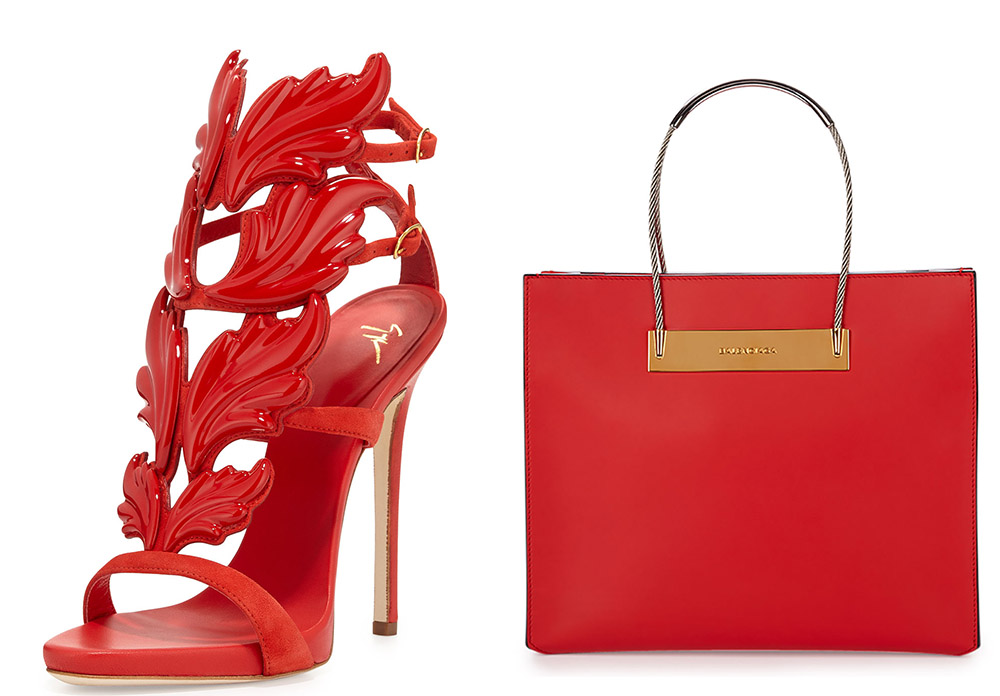 Giuseppe Zanotti Flame Suede High-Heel Sandal [$1,595 via Neiman Marcus] Balenciaga Small Cable Shopper Bag [$1,785 via Bergdrof Goodman]