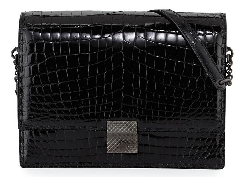 Bottega Veneta Crocodile Flap Shoulder Bag in Black