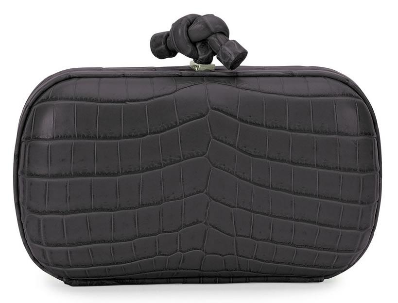 Bottega Veneta Knot Crocodile Clutch Bag in Black