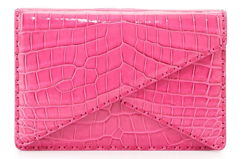 Bottega Veneta Piano Crocodile Crisscross Clutch Bag in Rosa Shock Pink