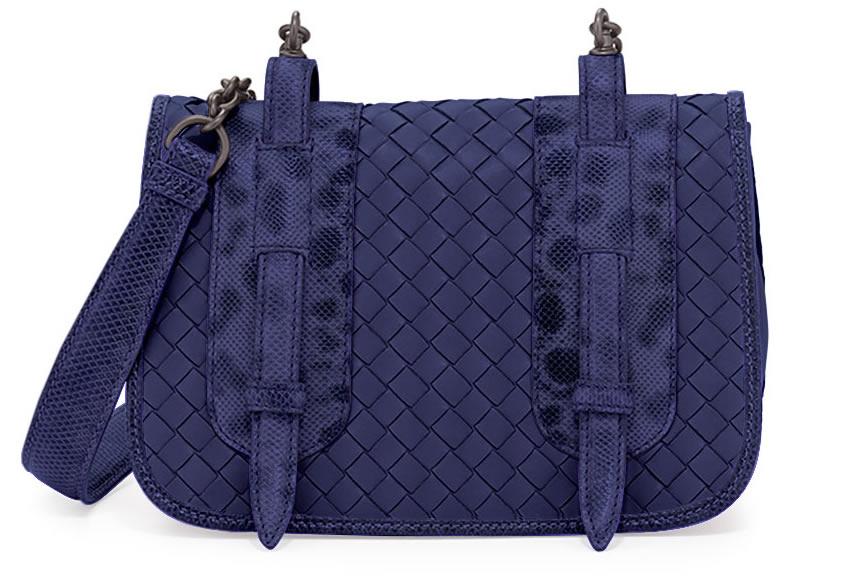 Bottega Veneta Watersnake and Leather Small Full-Flap Shoulder Bag in Blue