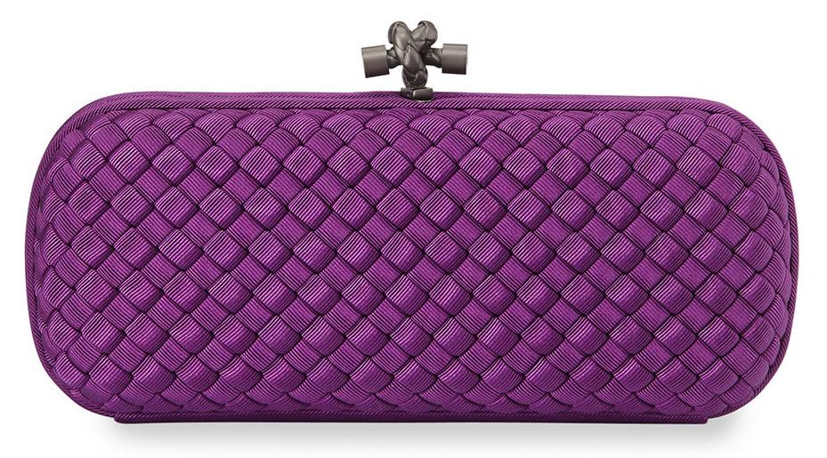 Bottega Veneta Woven Faille Large Knot Clutch Bag in Mona Lisa Purple