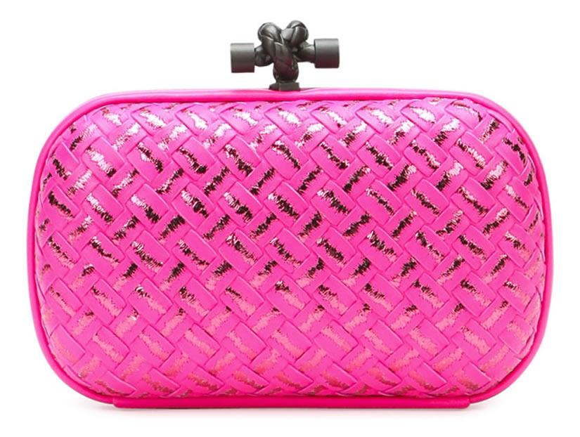 Bottega Veneta Woven Metallic Knot Clutch Bag in Hot Pink