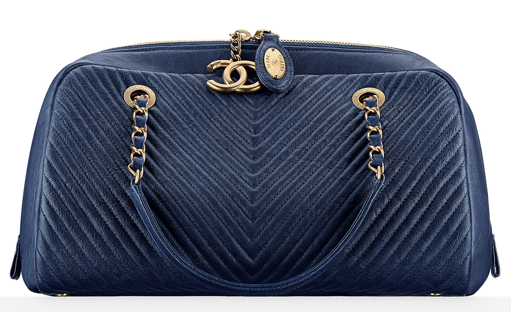 Chanel Chevron Quilted Bowling Bag