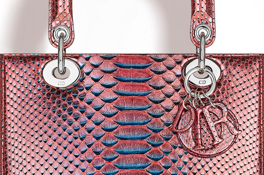 Christian-Dior-Lady-Dior-Metallic-Python-Bag-Closeup