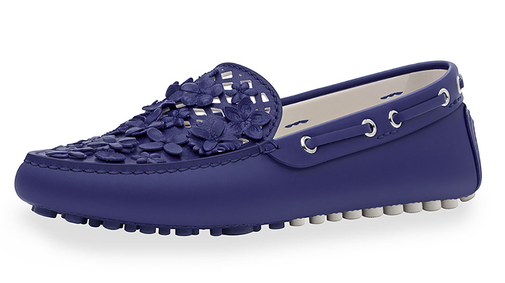 Dior Embellished Leather Driving Loafer_blue
