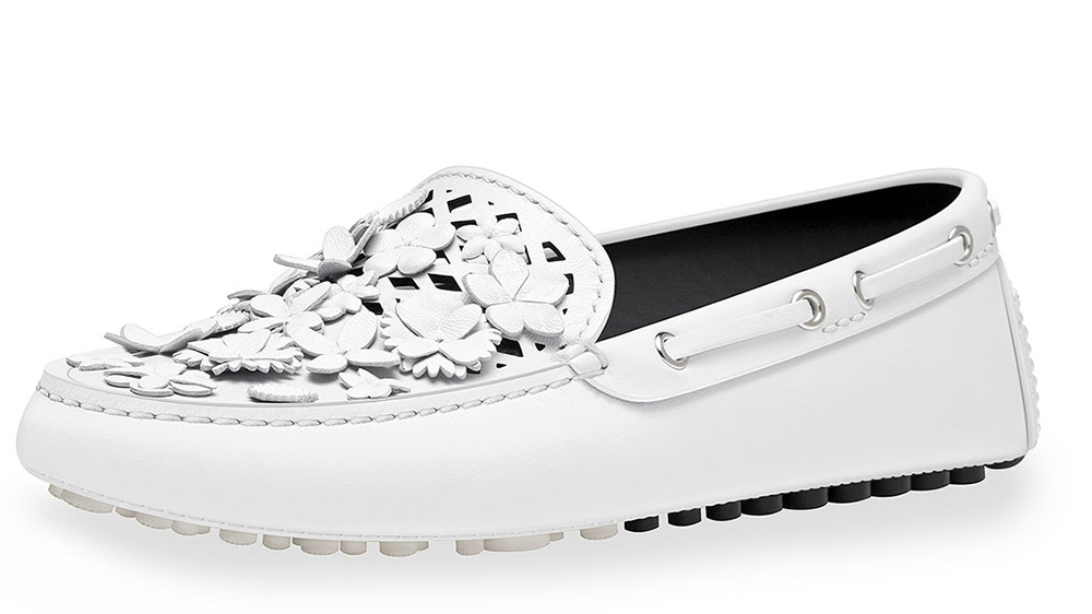 Dior Embellished Leather Driving Loafer_white