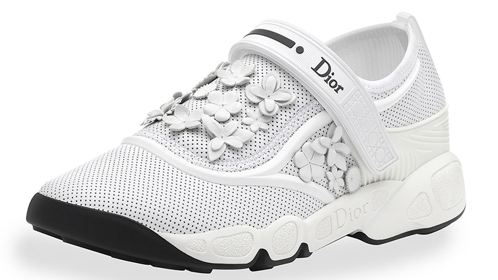Dior Floral-Embroidered Leather Sneaker