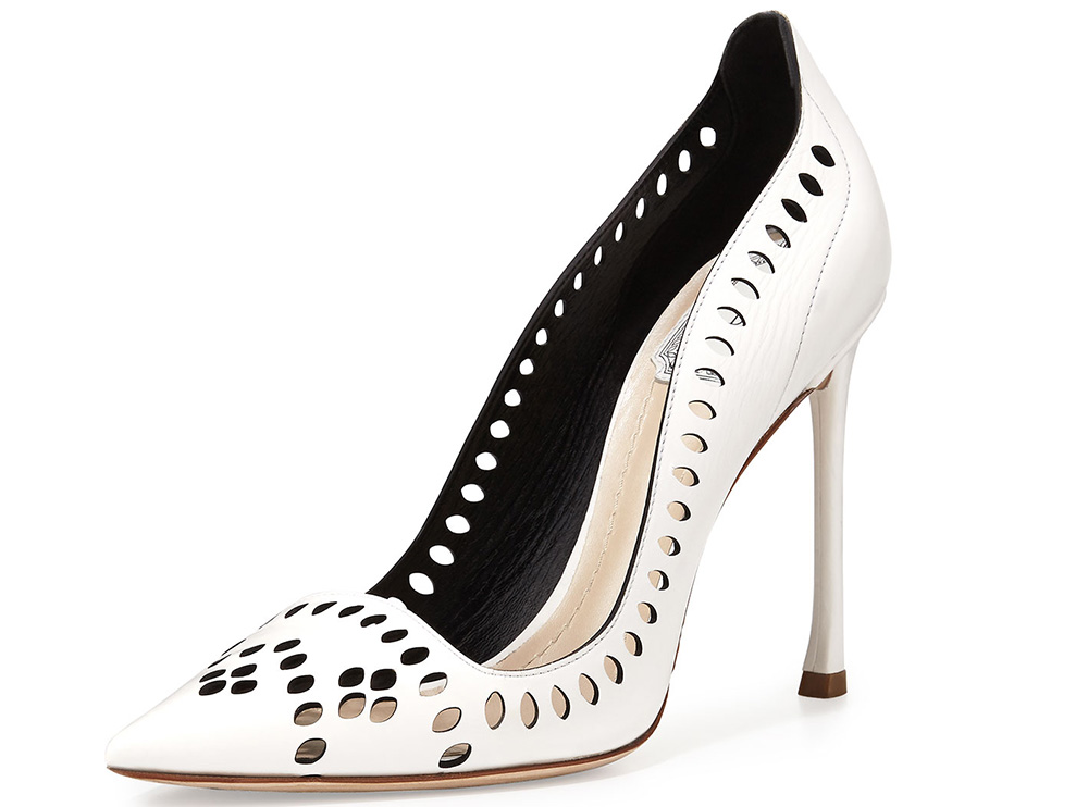 Dior Laser-Cut Leather 100mm Pump_white