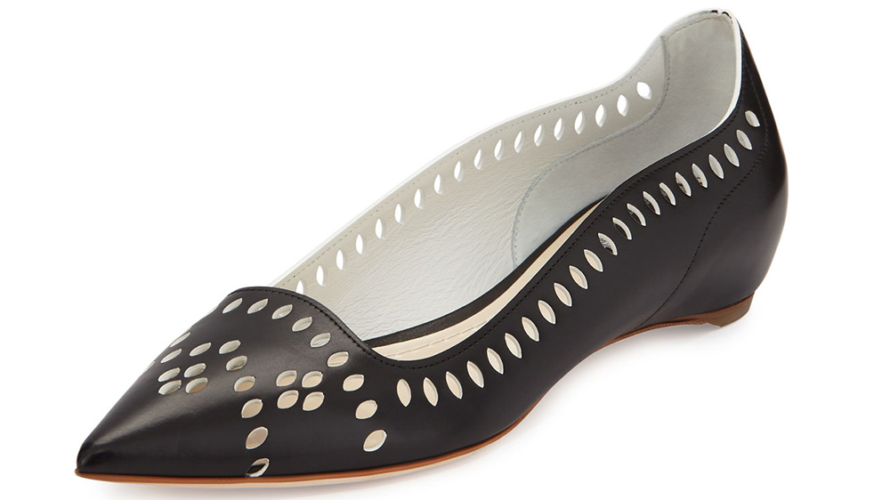 Dior Laser-Cut Leather Point-Toe Flat_black