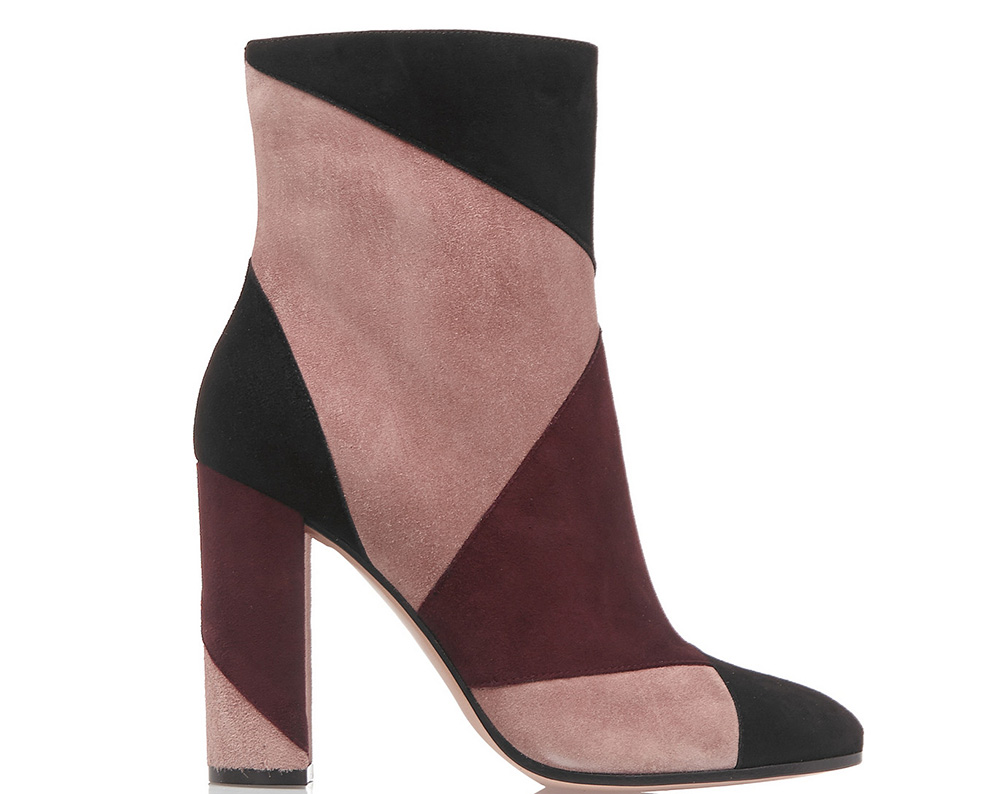Gianvito Rossi Patchwork Suede Ankle Boot