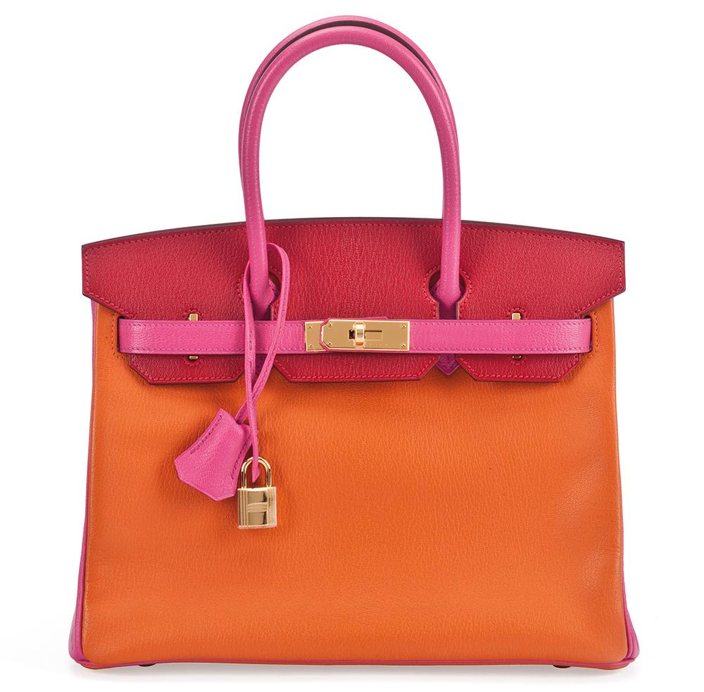 Hermes-Birkin-Special-Order-Horseshoe-Rouge-Vif-Rose-Tyrien-Orange-H-Chevre-30cm