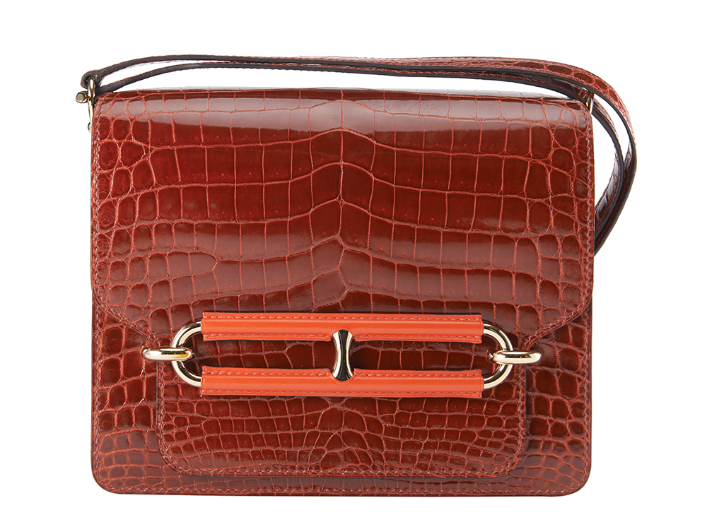 Hermes-Crocodile-Roulis-Bag-with-Cappucine-Leather-Trim