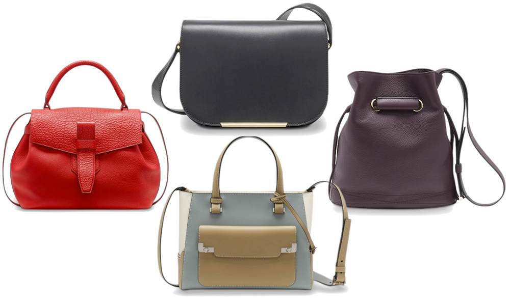 Clockwise from top: Lancel Bianca Bag, $980 via Monnier Freres; Lancel Le Huit Bucket Bag, $800 via Monnier Freres; Lancel L Small Tote, $1,420 via Monnier Freres; Lancel Charlie Bag, $1,190 via Monnier Freres