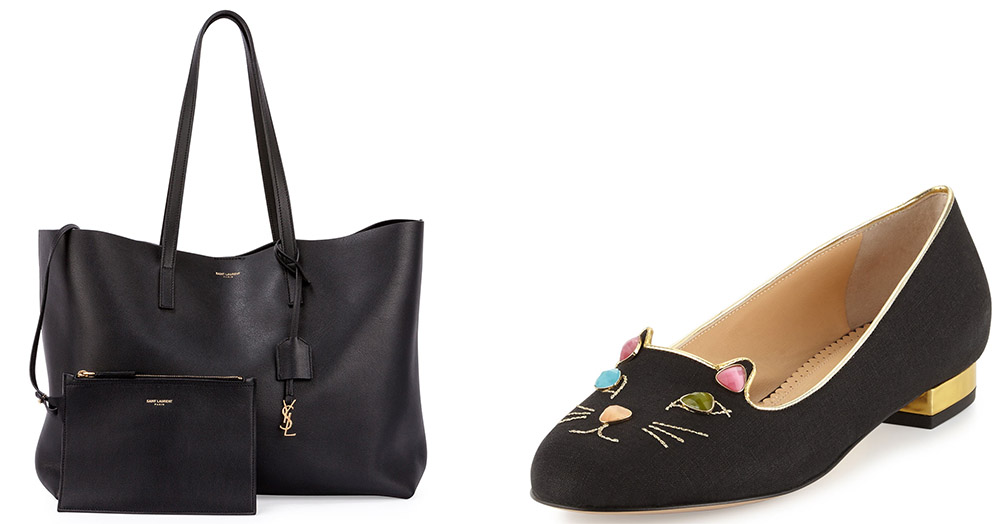 Saint Laurent Large Shopping Tote Bag [$995 via Bergdorf Goodman] Charlotte Olympia Kitty On The Rocks Linen Loafer Flat [$625 via Neiman Marcus]