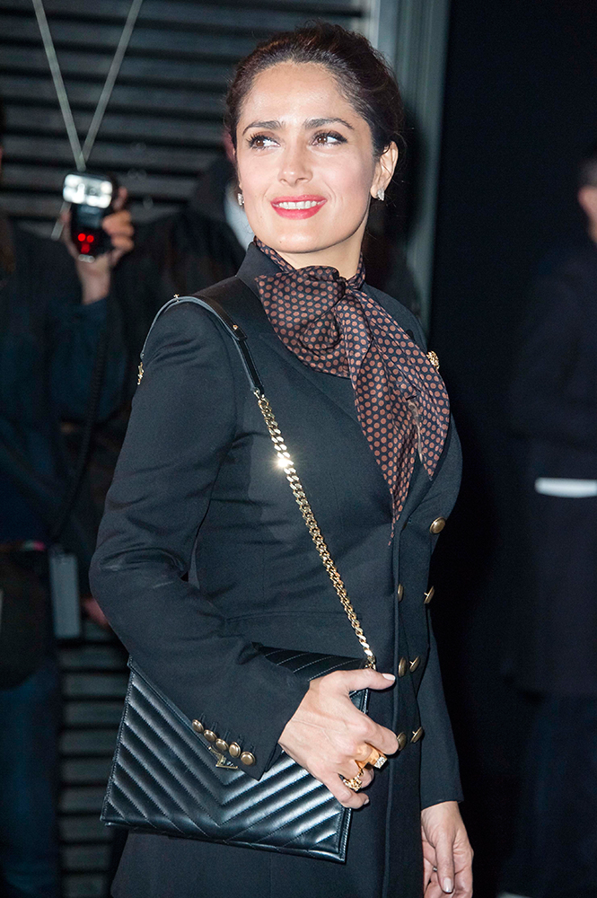 Salma-Hayek-Saint-Laurent-Monogramme-Matelasse-Shoulder-Bag