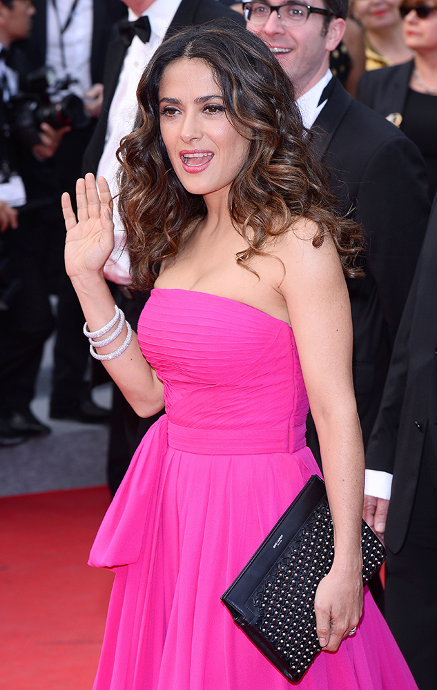 Salma-Hayek-Saint-Laurent-Studded-Clutch