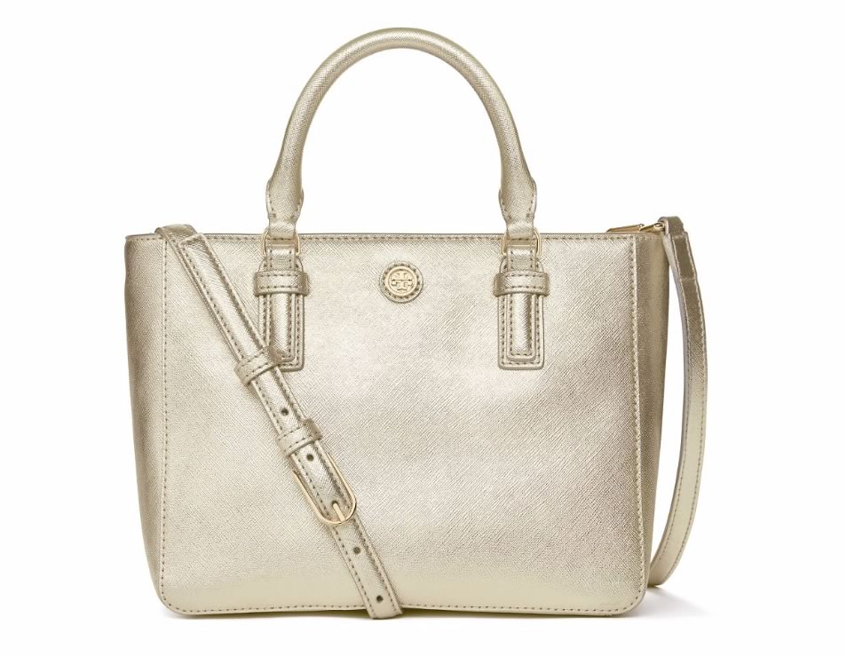 Tory Burch Mini Robinson Square Tote Metallic