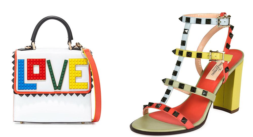 Les Petits Joueurs Alex Mini Rainbow Love Frame Bag [$1,050 via Bergdorf Goodman] Valentino Lacquered Rockstud Chunky-Heel Sandal  [$1,095 via Neiman Marcus]