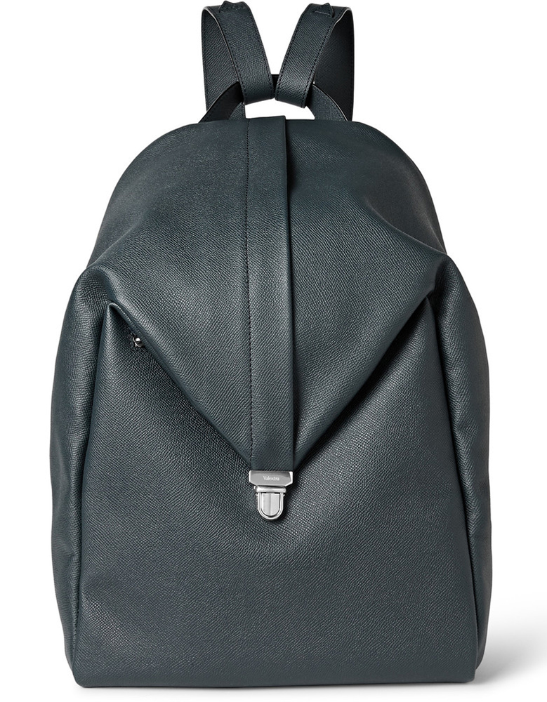 Valextra-Pebbled-Leather-Backpack