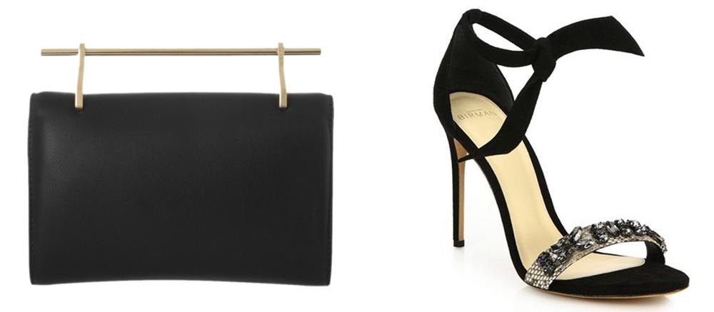 M2MALLETIER Fabricca Leather Clutch$1,290 via Net-a-Porter  Alexandre Birman Clarita Jeweled Python & Velvet Sandals, $850 via Saks