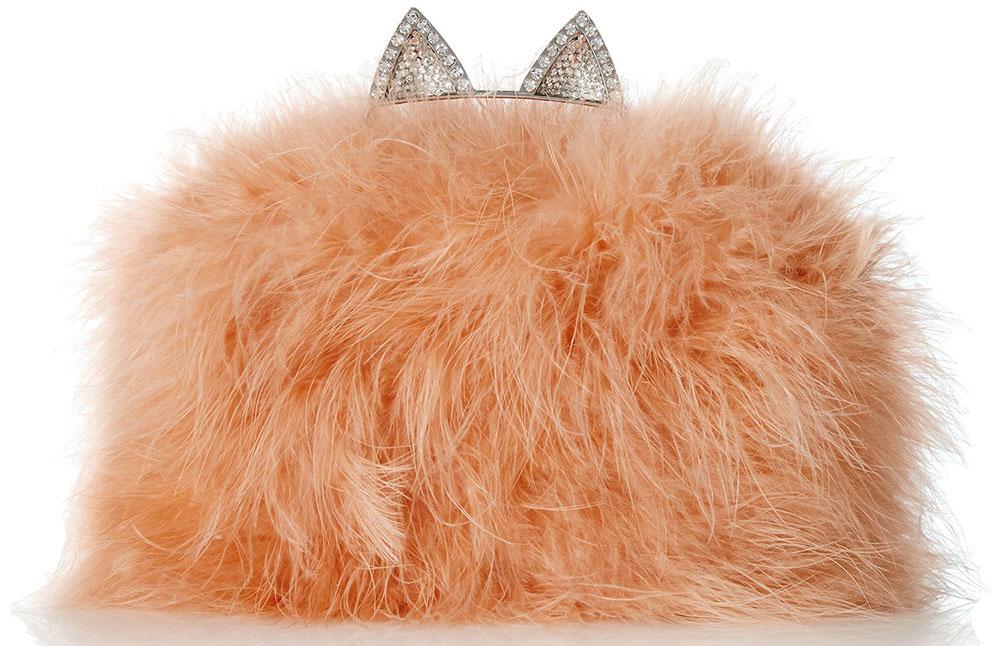 BCBG-Cat-Ear-Knuckleduster-Ostrich-Feather-Evening-Bag