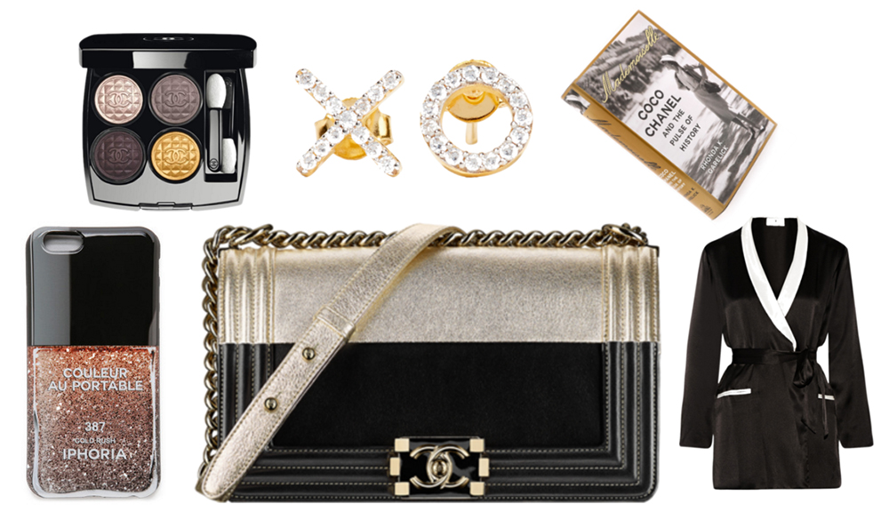 "Clockwise From Top Left: Chanel Les 4 Ombres Eyeshadow Palette, $65 via Chanel | Aamaya by Priyanka XO Gold-Plated Topaz Earrings, $285 via Net-a-Porter| ""Mademoiselle: Coco Chanel and the Pulse of History"" by Rhonda K. Garelick, $35 via Shopbop 