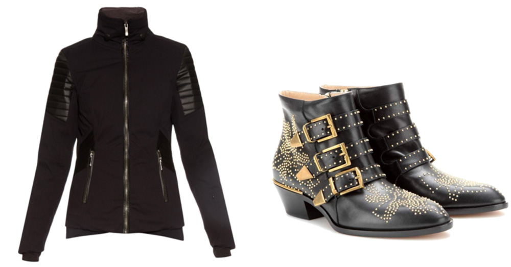 Lacroix Distinction Faux Leather-Trimmed Ski Jacket, $1,409 via MATCHESFASHION.COM  Chloé Suzanna Studded Leather Ankle Boots, $1,240 via MyTheresa