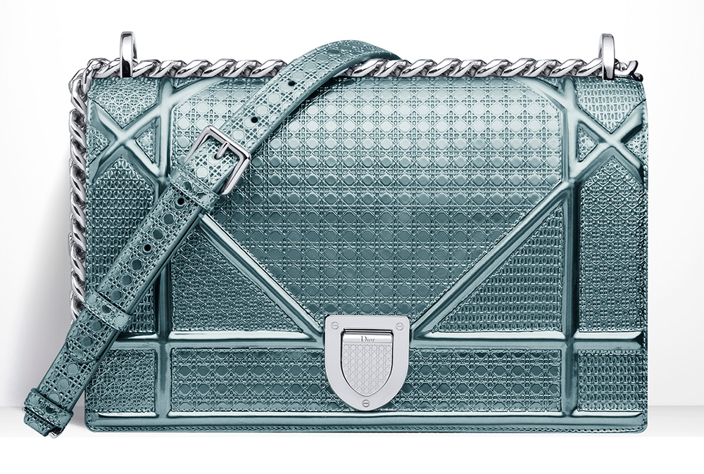 Christian-Dior-Diorama-Blue-Metallic-Mini-Cannage-Bag