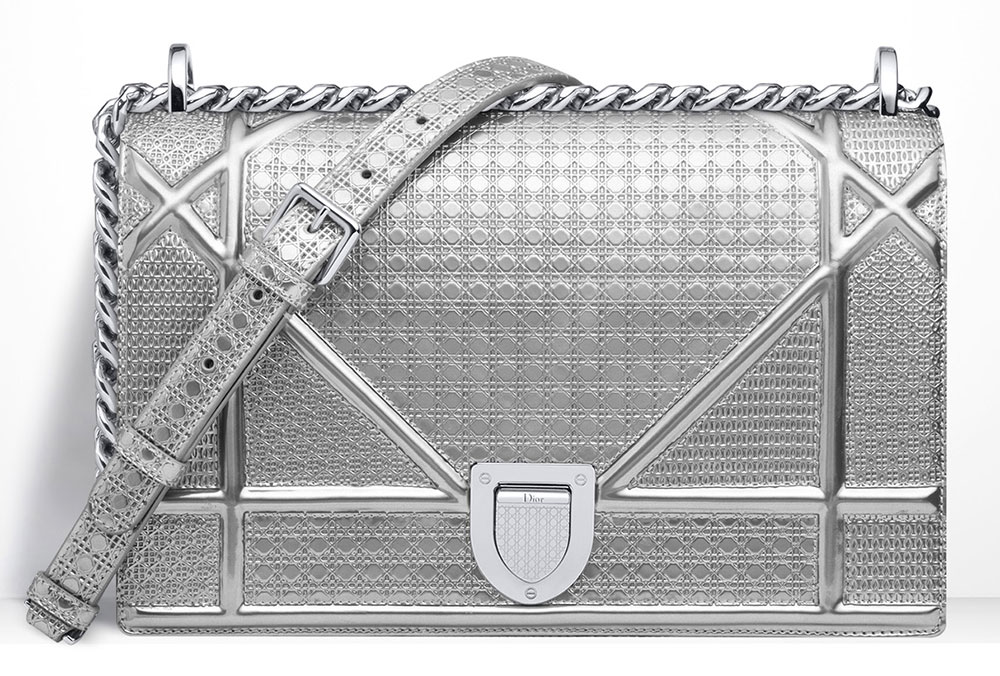 Christian-Dior-Diorama-Silver-Metallic-Mini-Cannage-Perforated-Bag