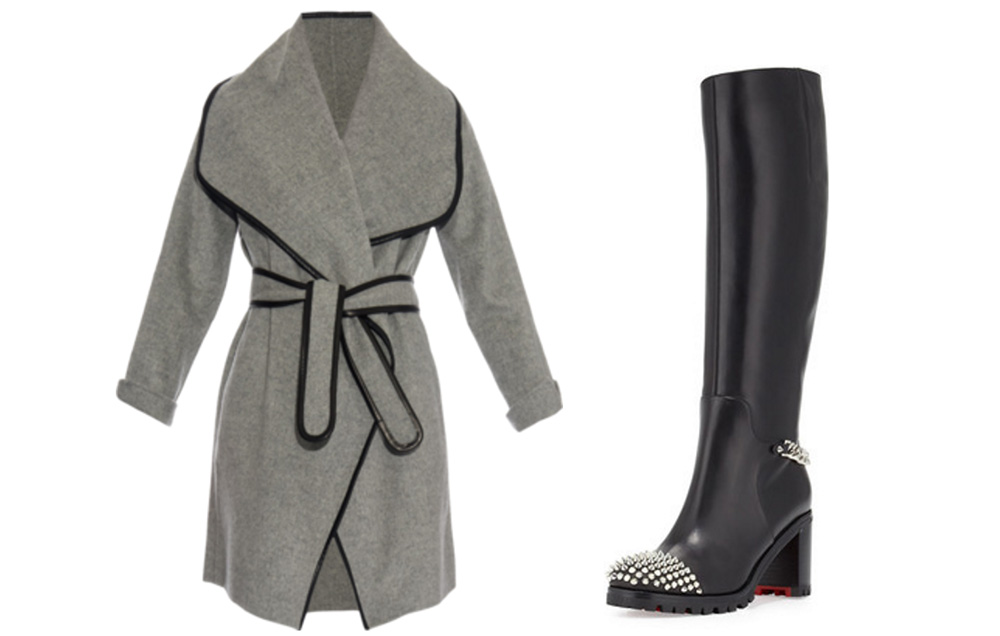 VINCE Wide shawl-Lapel Wool-Blend Coat, $795 via MATCHESFASHION.COM  Christian Louboutin Napaleona Spiked-Toe Boot, $1,595 via Bergdorf Goodman