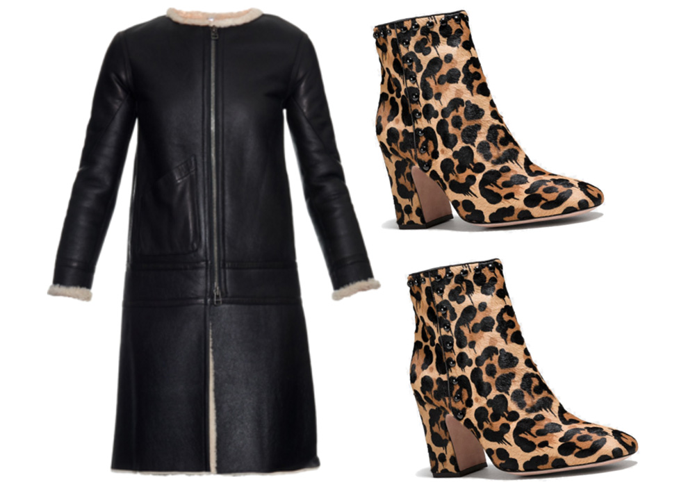 Helmut Lang  Aviator Shearling Coat, $3,995 via MATCHESFASHION.COM  Coach Felicia Bootie, $229 via Coach