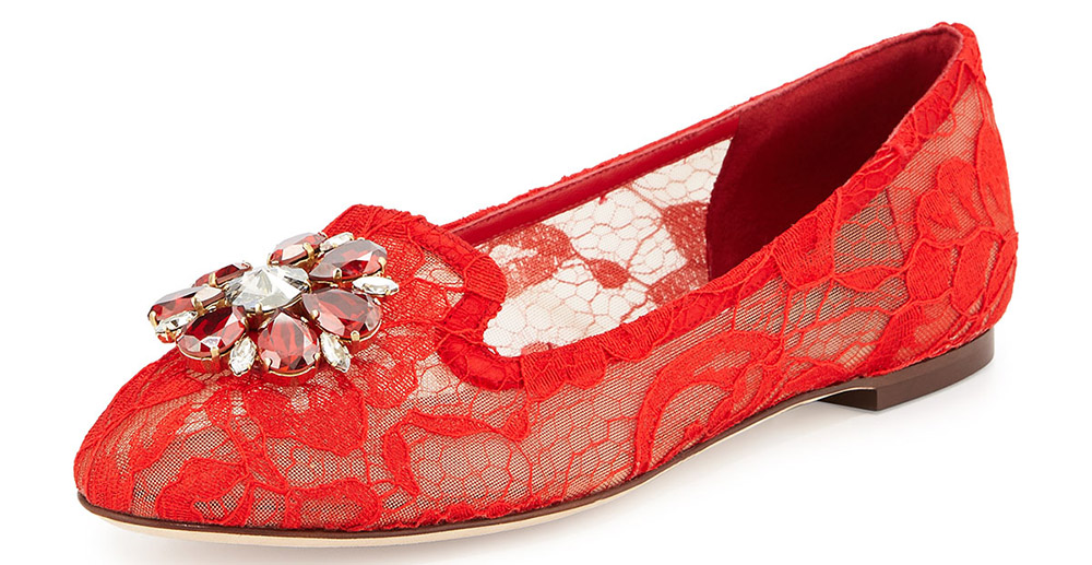 Dolce and Gabbana Crystal-Embellished Lace Loafer