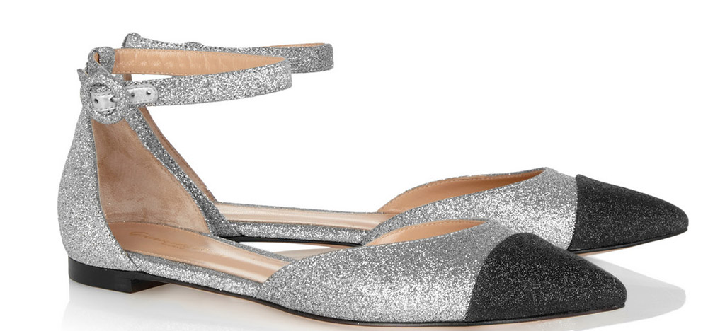 Gianvito Rossi Glitter-Finished Leather Point-Toe Flats
