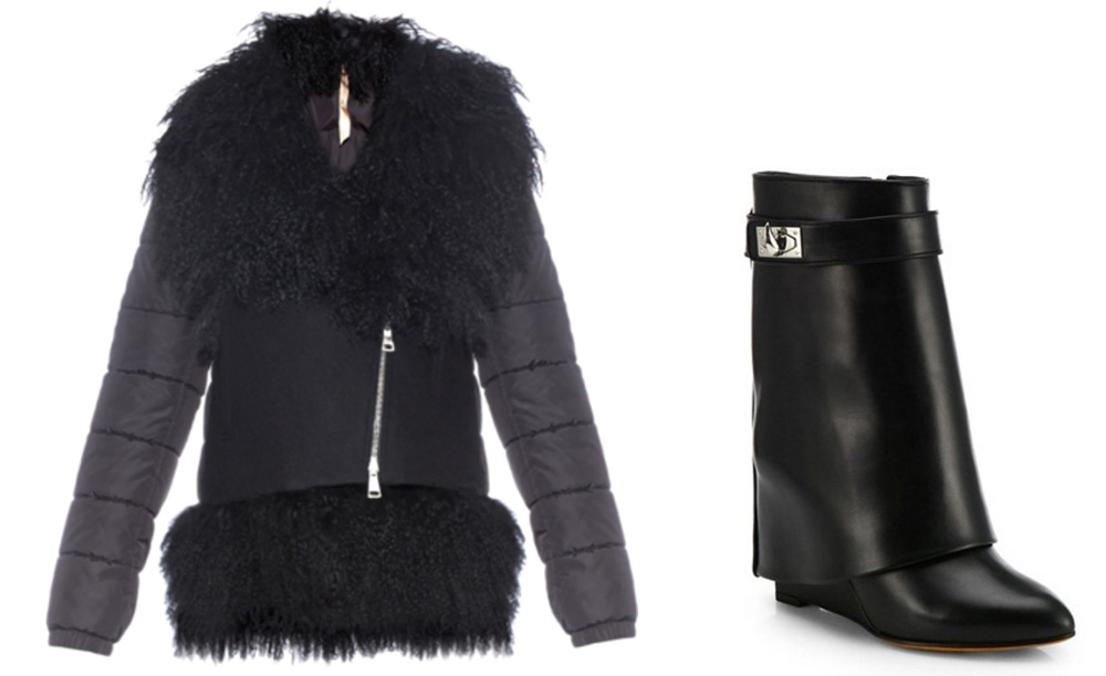 No. 21 Shearling-Collar Wool-Blend Jacket, $1,433 via MATCHESFASHION.COM  Givenchy Shark Lock Leather Pants Mid-Calf Wedge Boots, $1,850 via Saks