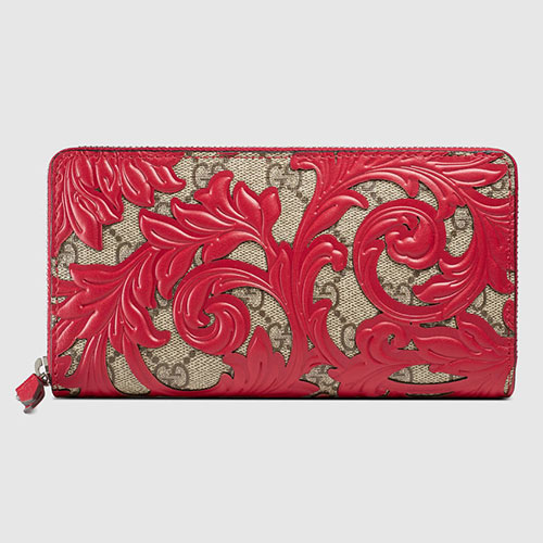 Gucci Arabesque Canvas Zip Around Wallet