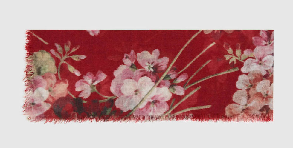 Gucci Blooms Print Cashmere Wool Stole
