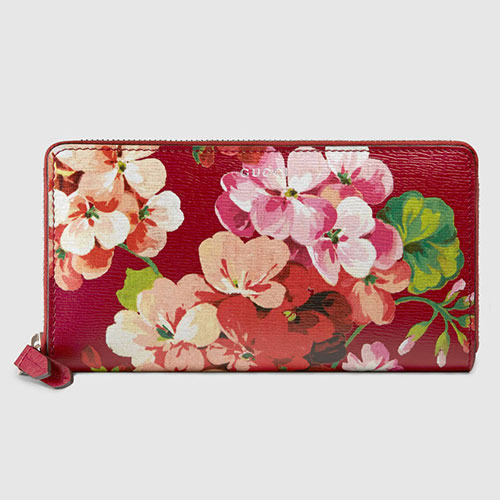 Gucci Blooms Print Zip Around Wallet